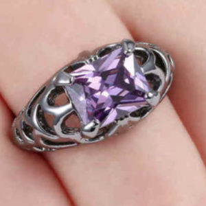 Jewelry - Amethyst Black Gold GF 10kt Gunmetal Size 9 Ring